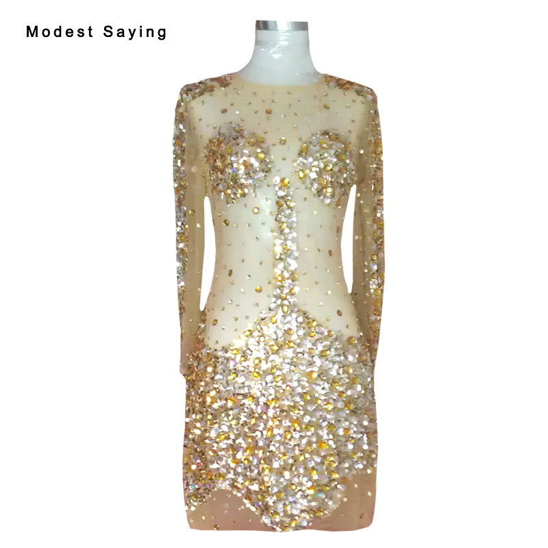 Sexy Gold Luxury Straight Crystal Long Sleeve Party Cocktail Dresses ...