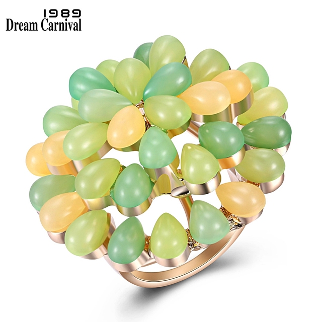 DreamCarnival 1989 New Arrived Green Tone Small Rings for Women Baby Finger Pinky Cute Pastel Colors Jewelry Wholesale Gift R250
