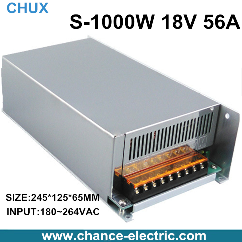 ФОТО 1000W 18V adjustable 56A Single Output Switching mode power supply AC to DC 110V or 220V SMPS