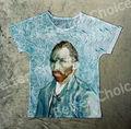 Pista Ship + Retro Vintage Buena Sensación T-shirt Top del Autorretrato Azul Vincent van Gogh Abstract Cloud 0850