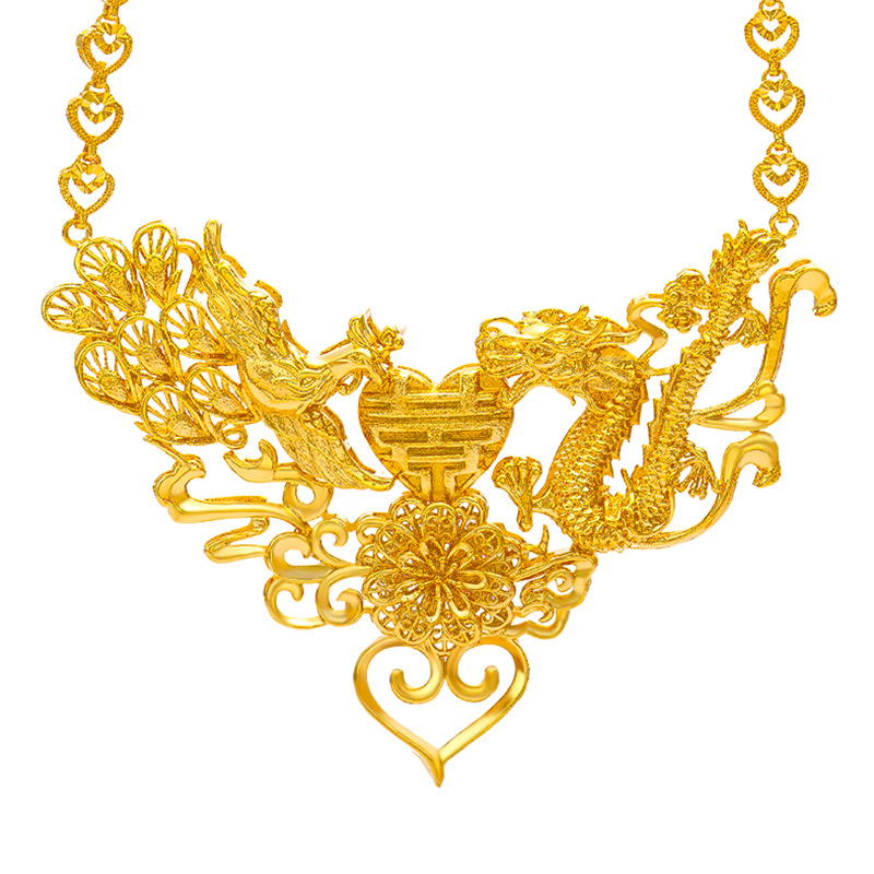 Vintage Yellow Gold Filled Dragon & Phoenix Pendant Necklace Womens Wedding Bridal Jewelry Gift