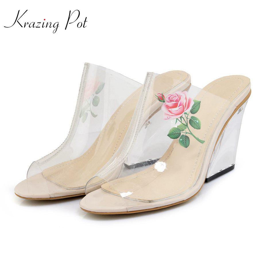 סיר Krazing מותג מוצק קיץ 2018 חדש הדפסת פרחים שקופים עקבים סופר גבוהים נעלי נשים סנדלי פרדות להחליק על סיבתי L8f8