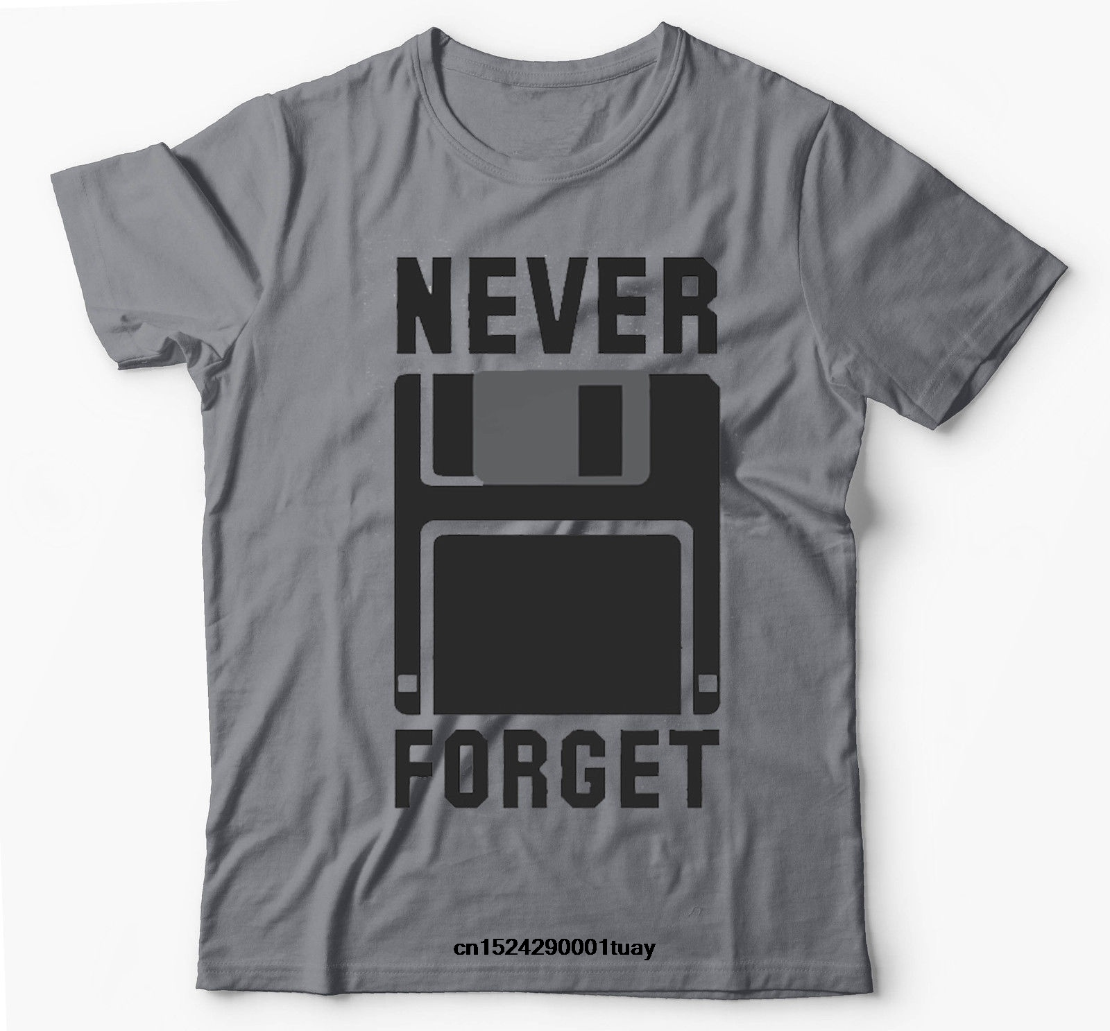 Never Forget Floppy Disk Silicon Valley Funny Grey T shirt