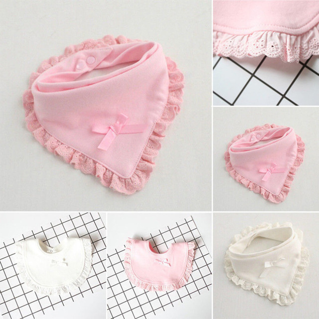 Baby Bibs Girl Burp 100% Cotton Lace Bow Pink and White Bib Baby Girls Lovely Cute Bib Infant Saliva Towels Bow Bibs