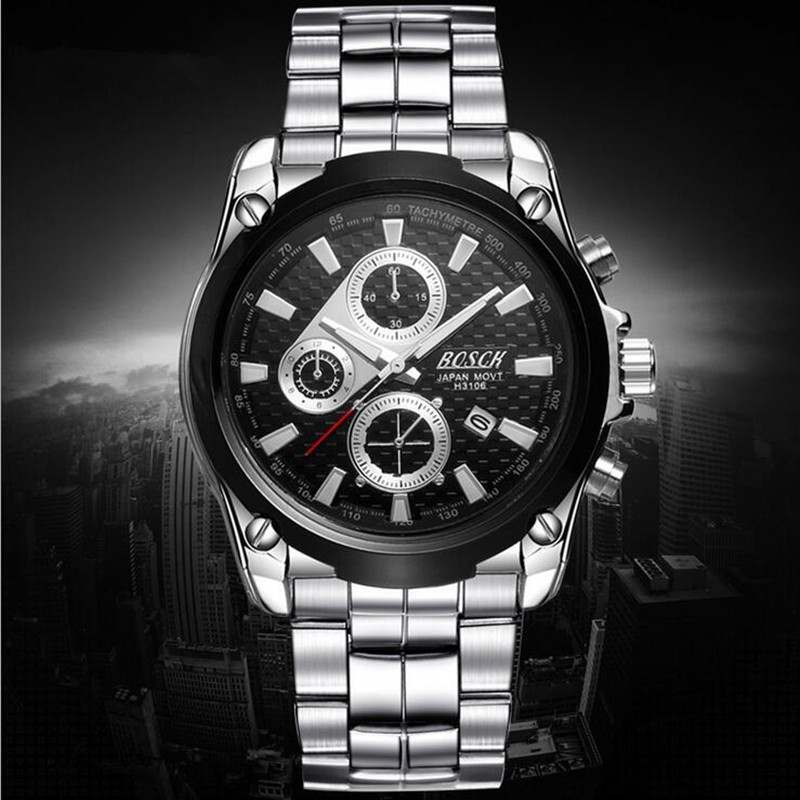 BOSCK 3106 the luxury men s leisure time high grade quartz watches calendar waterproof fashion watches