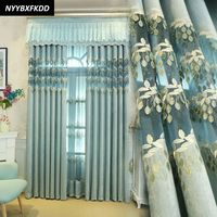 Jacquard Modern Semi shading Decoration Curtains For Living Room Bedroom Window Leaves Tulle Curtains