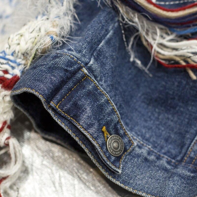 Manteau Nouveau Revers Grande Taille Automne Longues Mode Denim Blue Glands Oloey Veste Manches Hiver Femmes Tricot Couture 2018 À Bleu J505 TIf5x5