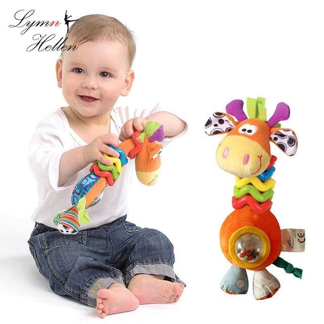 תינוק תינוק רעשן בעלי חיים יד לתפוס לפייס ספינינג יפה ג 'ירפה ידית חרוז תור צלצול תינוקות התפתחותית צעצוע