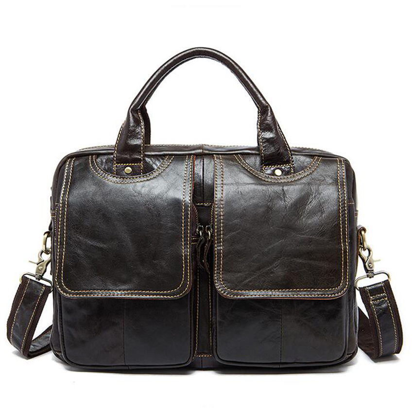 แกะสลักชื่อกระเป๋าเอกสารผู้ชายหนังแท้กระเป๋าถือชาย 14 นิ้วแล็ปท็อปกระเป๋า men briefcases Cowhide หนังกระเป๋า-ใน กระเป๋าสะพายข้าง จาก สัมภาระและกระเป๋า บน   1