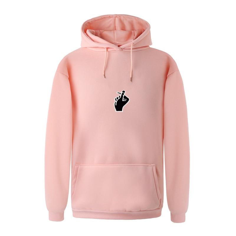 2017 Casual Hoodies Brand Men Love Gesture Print Hooded Sweatshirt Male Hip Hop Autumn Winter Thicken Fleece Women Pullover
