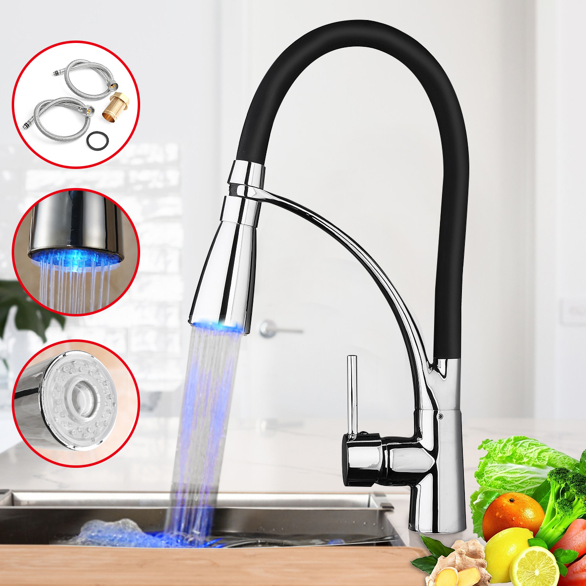 Modern LED Hole Kitchen Spring Faucet Cooper Sink Mixer Tap Single Handle With Sprayer For Home Kitchen BathroomModern LED Hole Kitchen Spring Faucet Cooper Sink Mixer Tap Single Handle With Sprayer For Home Kitchen Bathroom