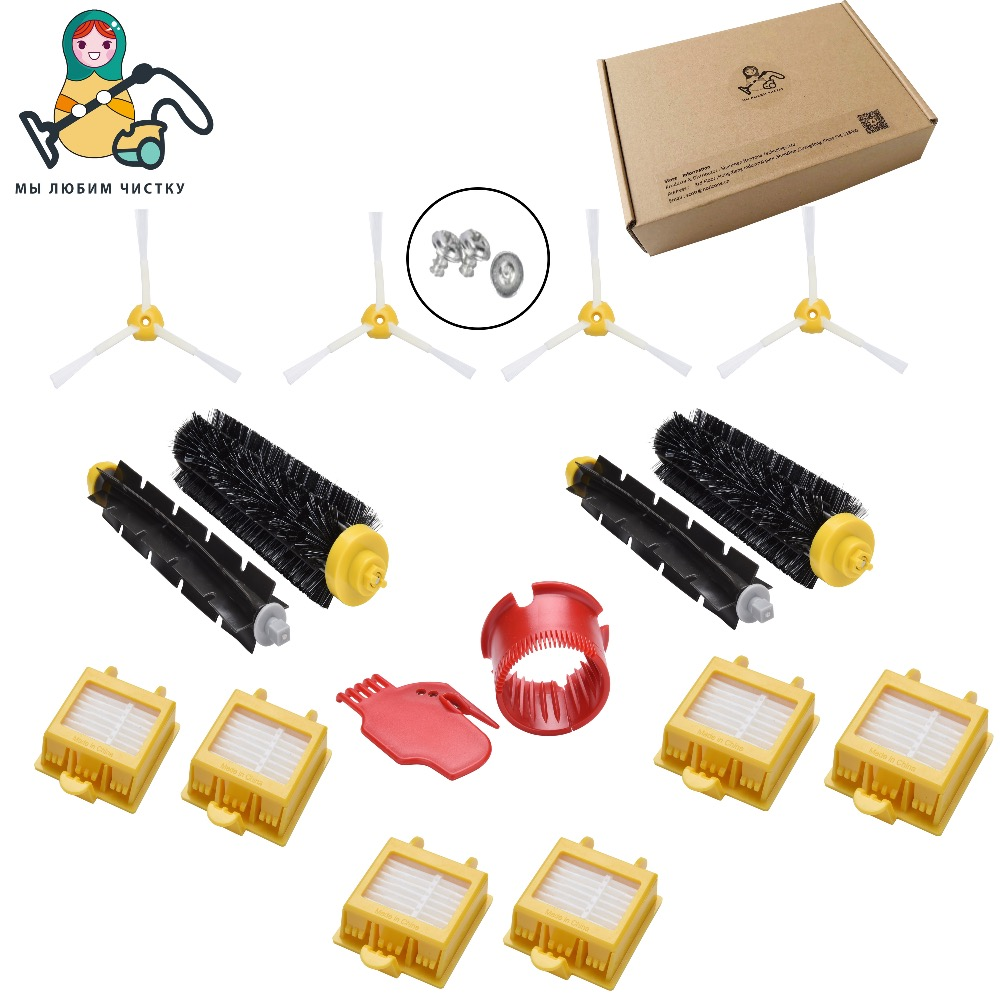 CLEAN DOLL Side Brush HEPA Filters Bristle Brush Flexible Beater cleaning kits for iRobot Roomba 700 760 770 780 790 cleaner hepa filters bristle brush flexible beater brush 3 armed side brush pack set for irobot roomba 700 series 760 770 780 790