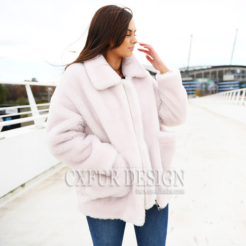 De t Street Mouton Hiver Outwear Teddy Pink Femmes 02a Light Cx Chaud High g Manteau Fourrure rouge Laine qAn8w45f