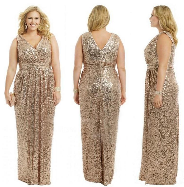 High Quality Plus Size Gold Sequin Bridesmaid Dress-Buy Cheap Plus ...