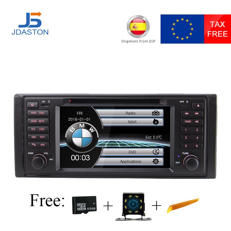 JDASTON HD Touch screen 7 inch car dvd radio multimedia player For BMW X5 M5 E39 E53 stereo video can bus steering wheel control jdaston 1 din 7 inch android 6 0 car dvd player for peugeot 207 multimedia video wifi gps navigation radio stereo steering wheel