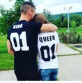 CDJLFH Brand Casual Lovers Suits Man Short Sleeve O neck Letter KING QUEEN Print Black T-shirt Women White T-shirt S M L XL XXL
