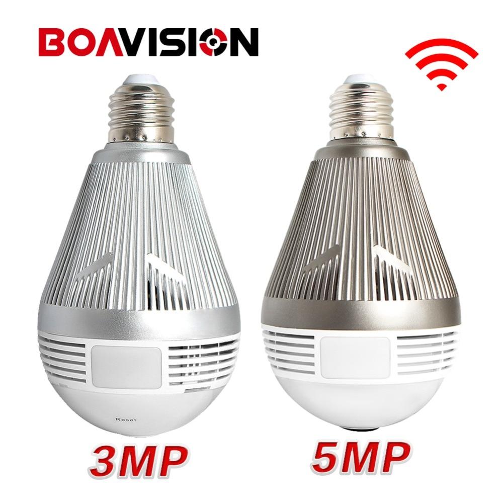 HD 3MP 5MP Wireless Wi Fi CCTV Camera LED Bulb Light Mini Cam Night Vision Fisheye