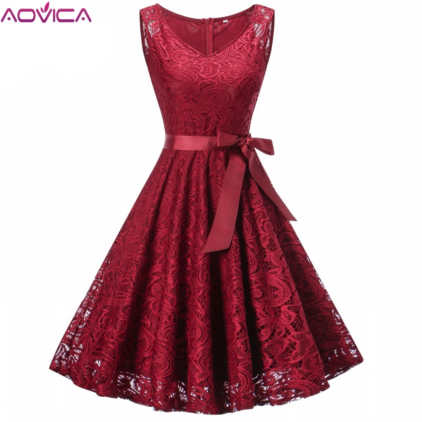 03f459179c0 Aovica Vintage Floral Lace Pleated Dress Women Sleeveless V-Neck Elegant  Party Sexy Dresses Retro