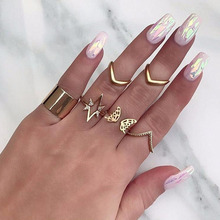 2019 New Bohemia 6 Pcs/set Fashion Star Butterfly V Shaped Geometric Gold Joint Ring Women Personality Party Ring Set цена