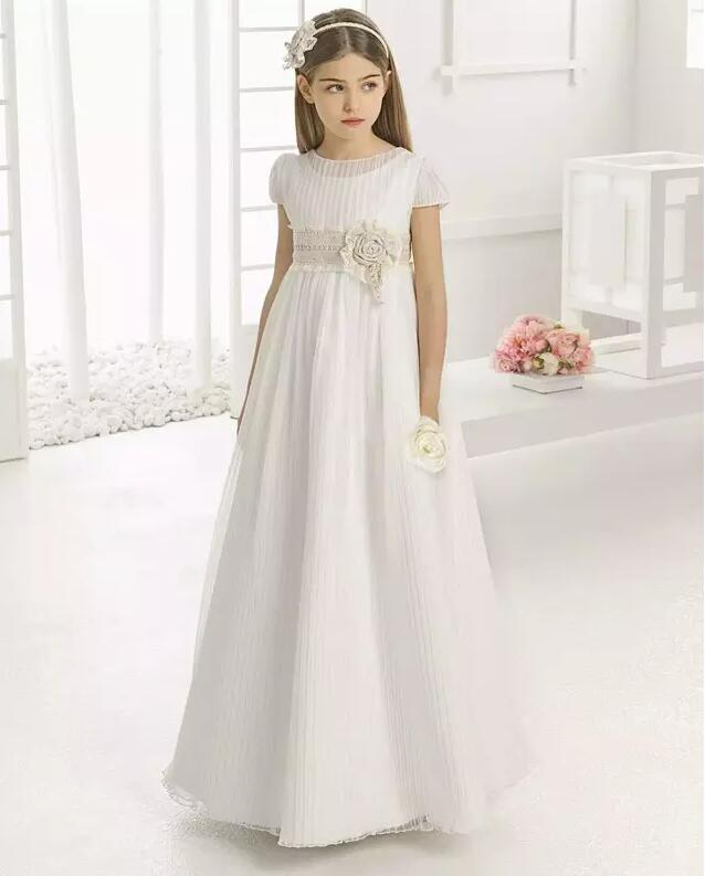 Vintage New Ivory White Communion Gown A Line Crew Neck Lace Short Sleeves Kids Girls Pageant Dress Flower Girls Dresses