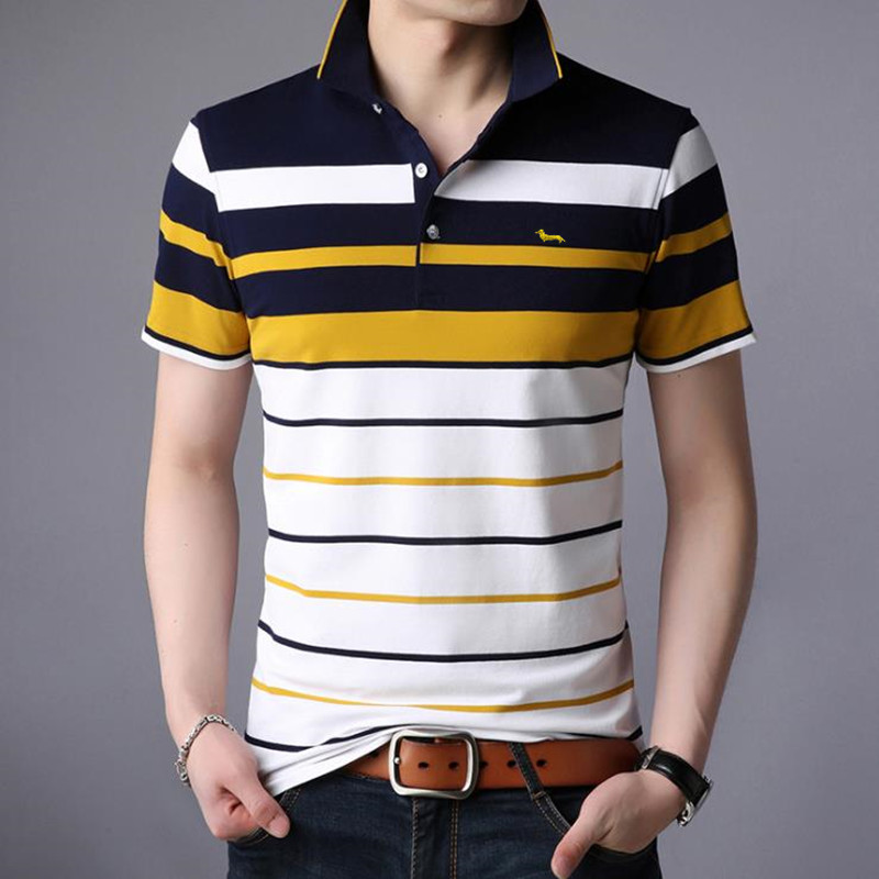 2018 New Men summer casual shirt slim fit short sleeve 100%cotton breathable soft business striped embroidery shirts Po11 2