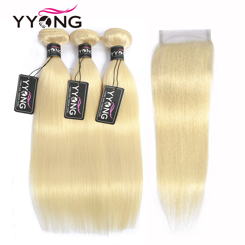Yyong 613 Honey Blonde Bundles With Closure Brazilian Straight Remy Human Hair Bundles With Closure 4PC
