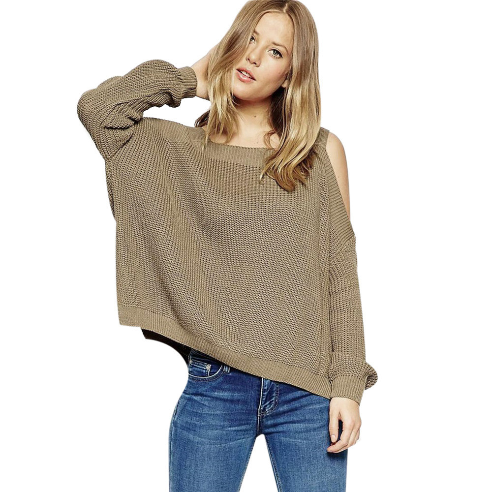 Women Autumn And Winter Long Sleeve Sweater Pullover Off the Shoulder Loose Sweater Knitted 2019 #G7(China)