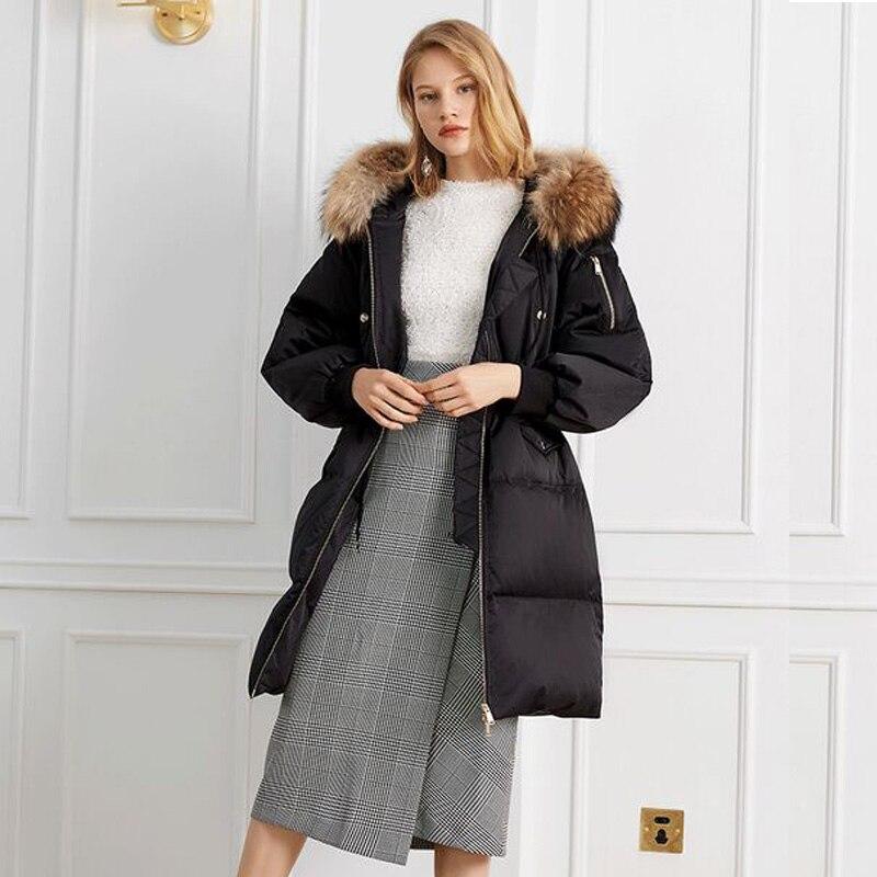 2018 Duvet Raton Blanc Réel Parkas Fourrure Noir Canard Épais Veste Naturel Laveur Hiver Longue De Outwear Femmes Manteau Chaud wxfC4Xxq7