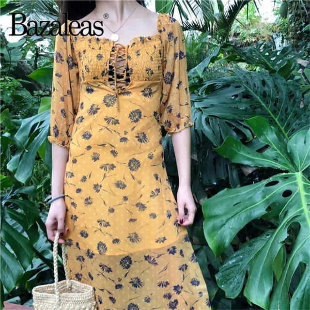ccfacedbb848c Bazaleas 2019 Yellow Floral printed midi Dress Short Sleeve summer Dress  Vintage Elastic Bust tie in front Dresses vestidos