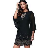 2017 Casual Dresses For Woman Bell Sleeve Rhinestone Mini Dress Women Clothes Elegant Dress Vintage Black