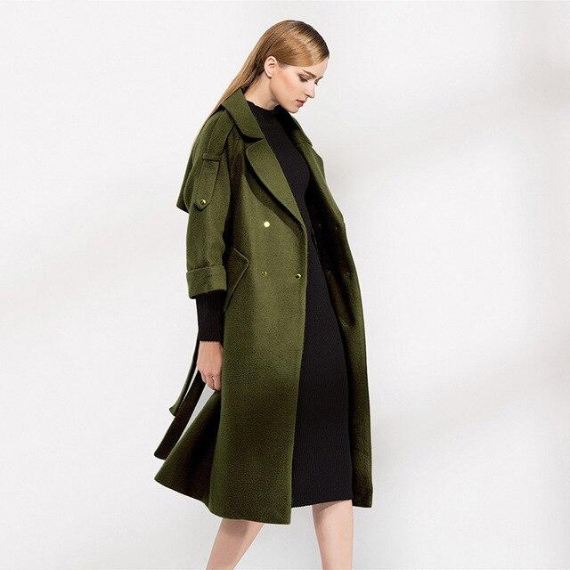 Groene Lange Winterjas.2017 Vrouwen Jassen Lange Groene Winter Wol Jas Mantel Fall Fashion