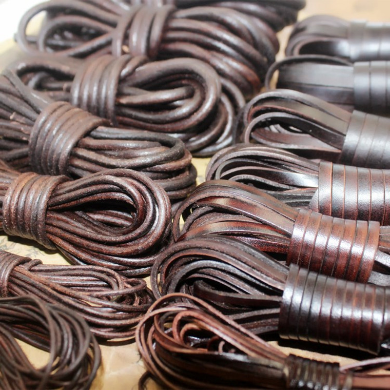 2Meter 2 3 4 <font><b>5</b></font> 6 8 10 mm Retro Brown Round Flat Genuine Cow Leather Cords String Rope for <font><b>DIY</b></font> Bracelet Jewelry Making Findings image