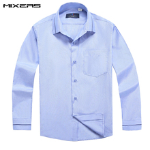 2018 Fashion Blue Striped Casual Shirts childs Classic Formal