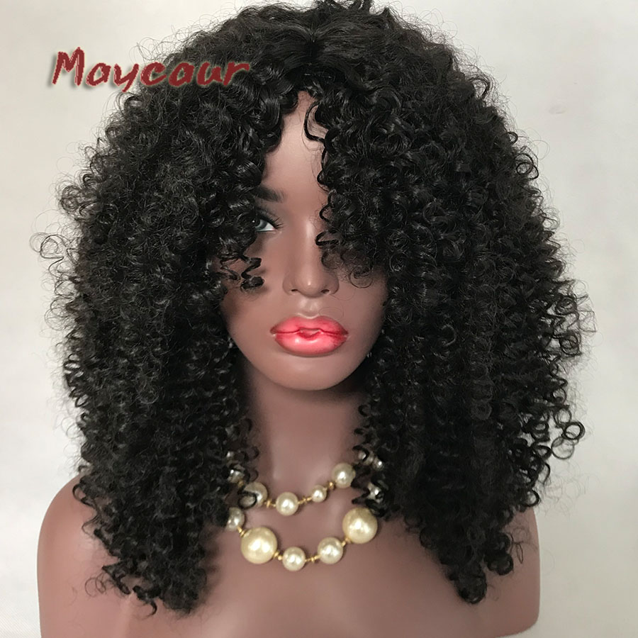 Black Long Curly Hair Glueless Synthetic Wigs For Black Women Free Bangs Heat Resistant Fiber Wig