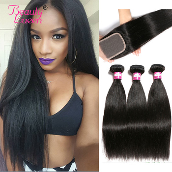 Remy Brazillian Straight Hair 3 Bundles With Closure Brazilian Hair Weave Bundle Deals Tissage Bresiliens Human Hair Extensions