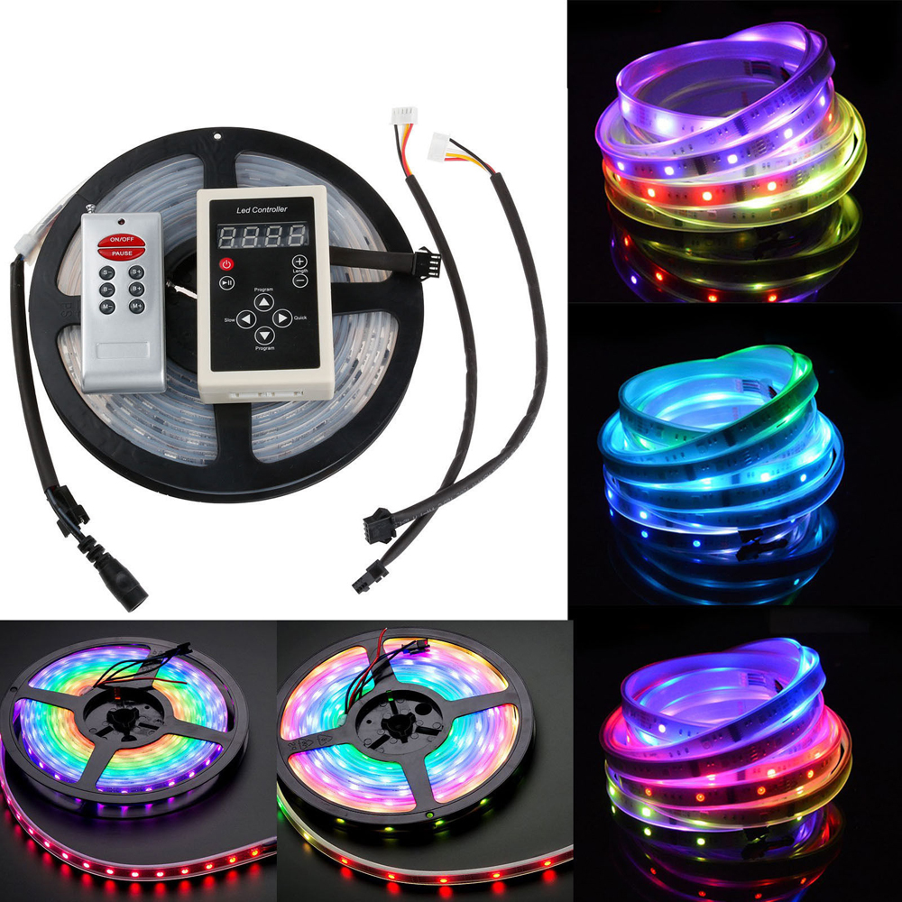 цена на 5m 6803 IC Dream Magic Color LED Strip 5050 RGB 6803 LED Strip Light Waterproof 133 Magic Dream Color 6803 remote controller