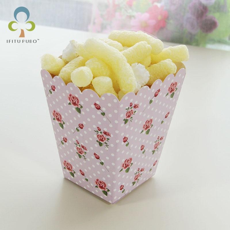 12pcs set party mini paper rose popcorn boxes candy favor bags
