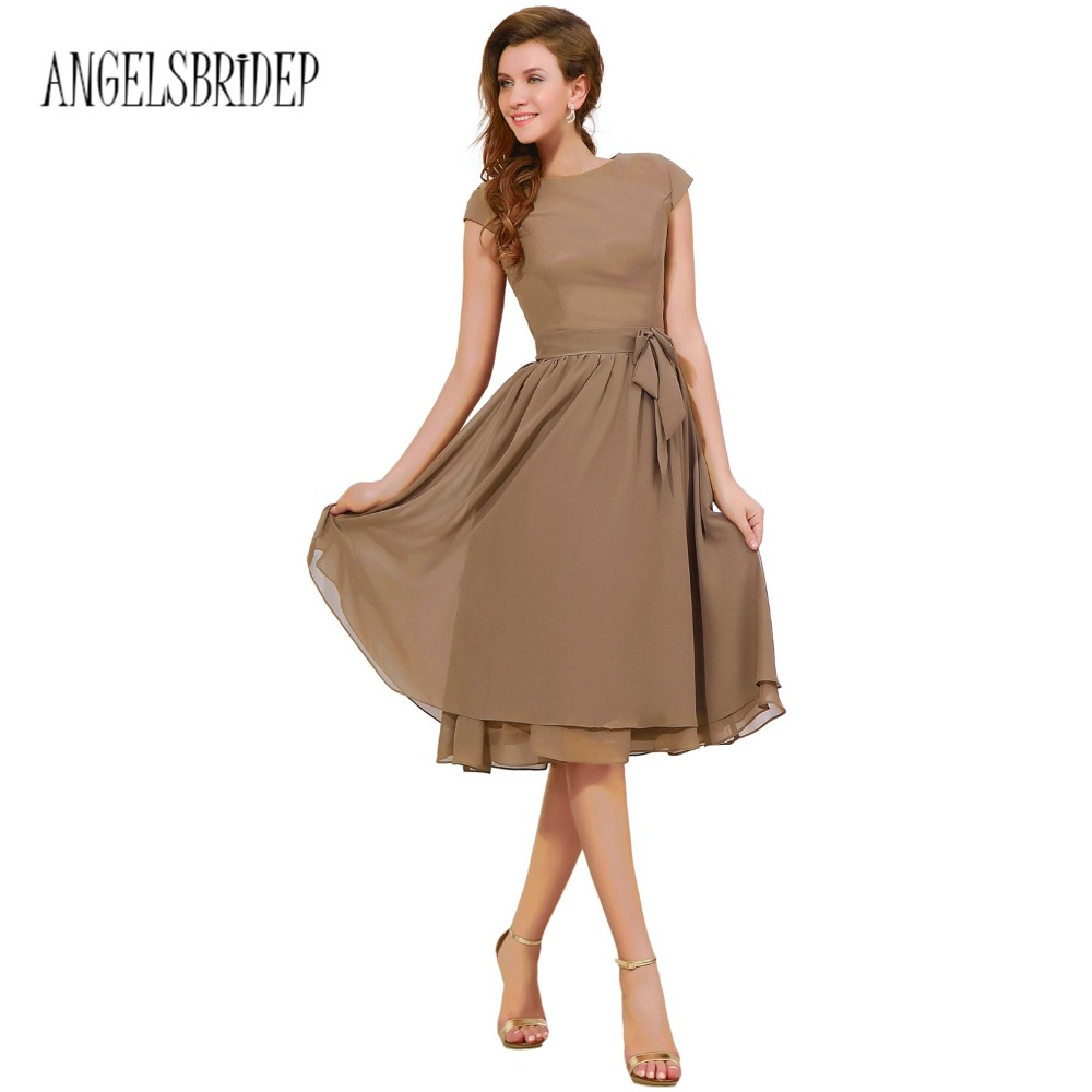 Compare prices on tea length bridesmaid dresses with sleeves angelsbridep simple coffee tea length bridesmaid dresses with sashes chiffon cap sleeve cheap party formal gown ombrellifo Images