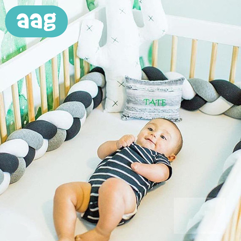 AAG 3M/4M Newborn Baby Bed Bumper Weaving Plush Knot Crib Bumper Long Knotted Braid Pillow Infant Room Decor Kids Bedding *