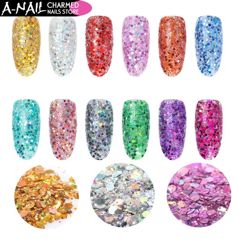 A-nagel 12 Farben/set Mini Hexagon Form Laser Leuchtende Nail Art Glitter Diy 3d Sparkly Paillette Tipps Nagel Dekorationen Maniküre ZuverläSsige Leistung Schönheit & Gesundheit