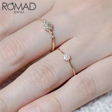ROMAD тонкое маленькое кольцо с кубическим цирконием золотого цвета, тонкое кольцо для женщин, модное кольцо, R4