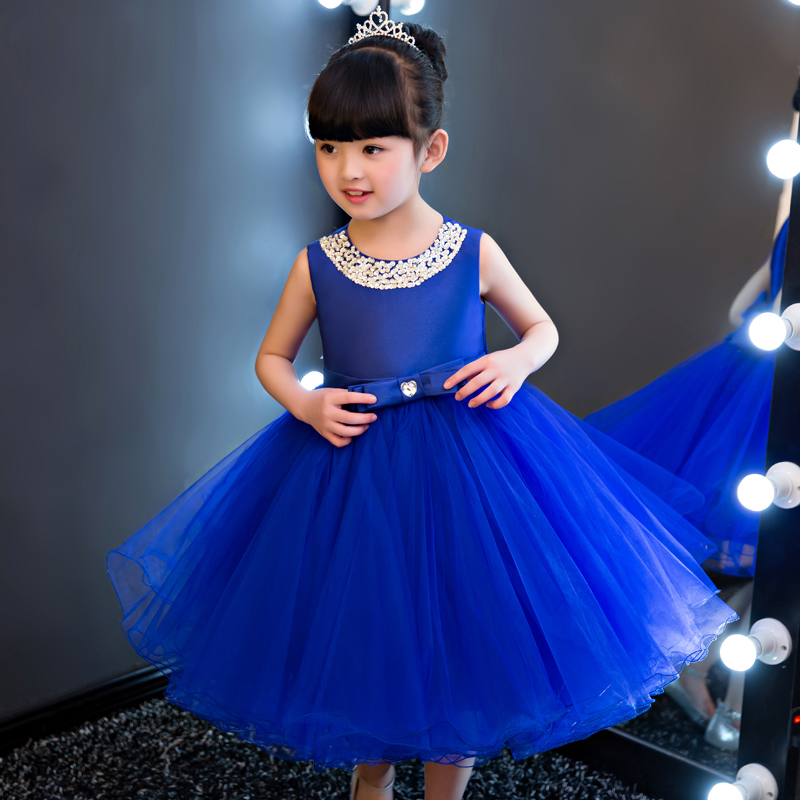Big Bow Flower Girls Dress Blue Royal Princess Girls Dresses Mid-Calf Ball Gown Children Summer Dress Sleeveless Party Dress A81 jioromy big girls dress 2017 summer fashion flower lace knee high ball gown sleeveless baby children clothes infant party dress