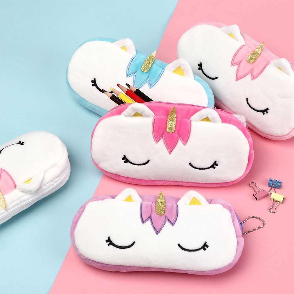 Unicorn Plush Cosmetic Bag Case For Kids Girls Women Travel Organizer Necessary Beauty Case Makeup Pouch Gift Designs Kawaii