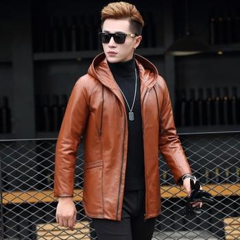 YOLANFAIRY Geniune Leather Jacket Men Cow Leather Down Coat Winter Warm Plus Size 5XL chaqueta de plumas para hombre MF411