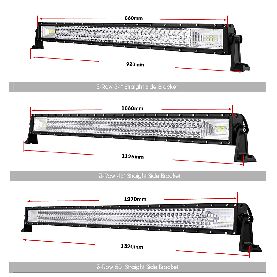"Oslamp Triple Row 22"" 34"" 42"" 50"" Straight Led Bar Offroad LED Light Bar Combo Led Work Light Bar for Car ATV Truck 4X4 Pickup-in Light Bar/Work Light from Automobiles & Motorcycles    2"