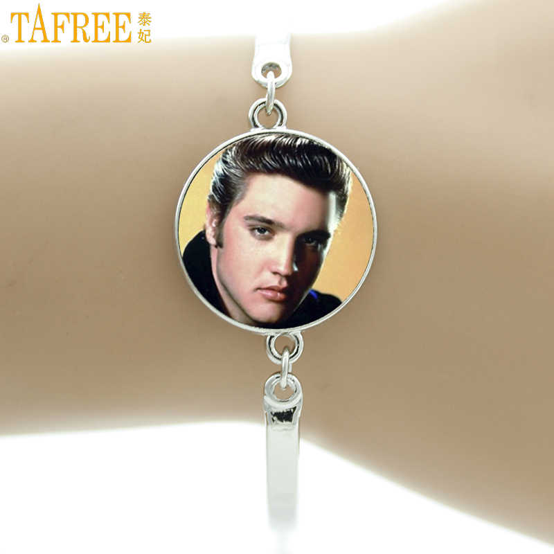 TAFREE super star rock singer Elvis Presley bracelets music liker Elvis Presley fans musician jewelry for men women charms NS488