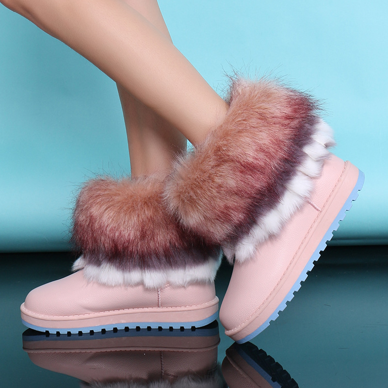 2018 New Women Snow Boots Fox Fur Lady Winter Boots Leather Waterproof Autumn Winter Shoes Ankle High Female Botas Size 35-40 new autumn winter parent child women red fox fur hats warm knitted beanies real fur cap high quality kitting female fur hat