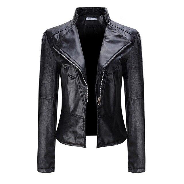 Gothic 2018 Autumn Women faux Leather Jacket coat plus size Black moto PU jacket Zippers Female slim cool short overcoat work