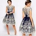 Женская Новый Элегантный Колен Dress Кружева Вокруг Шеи Короткими Рукавами Партия Dressess