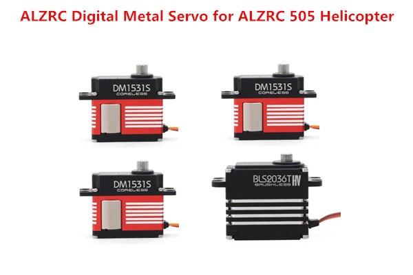 3Pieces DM1531S Servo &1 Piece BLS2036T Servo ALZRC 505 Helicopter Parts Digital Metal Servo jx pdi 5521mg 20kg high torque metal gear digital servo for rc model